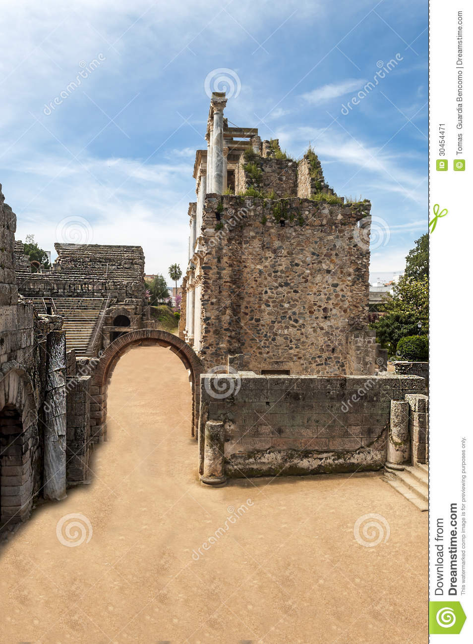 Courtyard Entrance To The Roman Amphitheater Stock Image ...