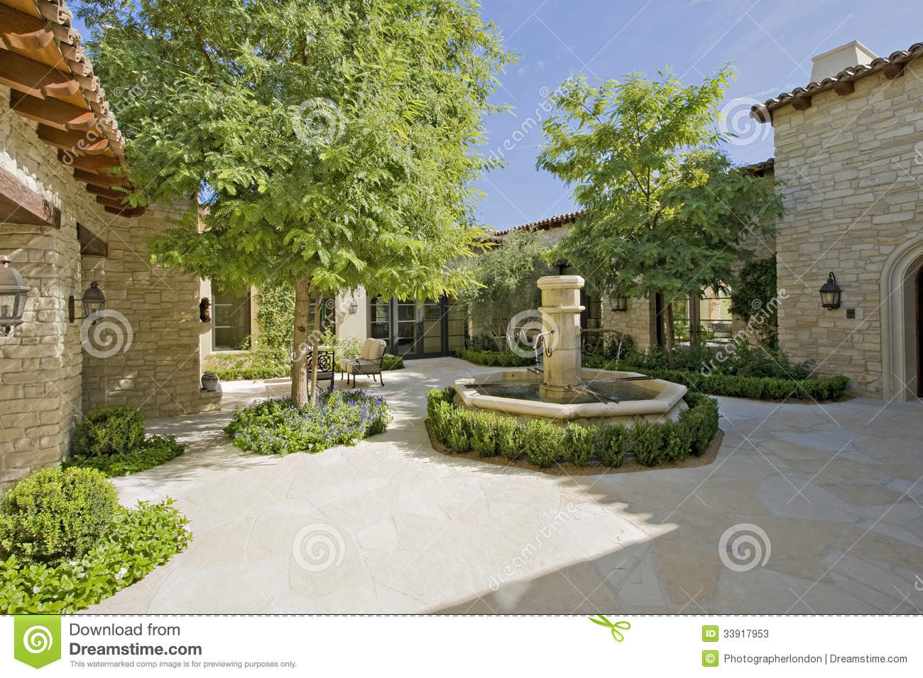 Courtyard With Fountain And Trees On A Sunny Day Stock