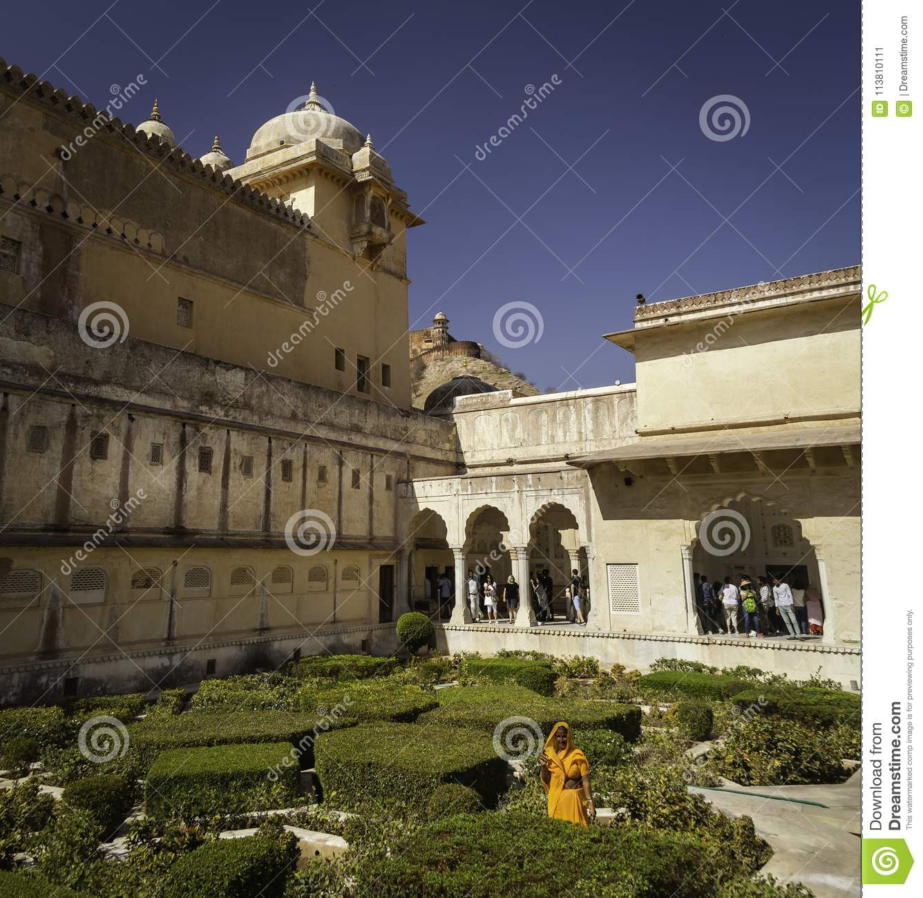 Courtyard Gardens Inside Amber Fort Editorial Photo - Image of ...