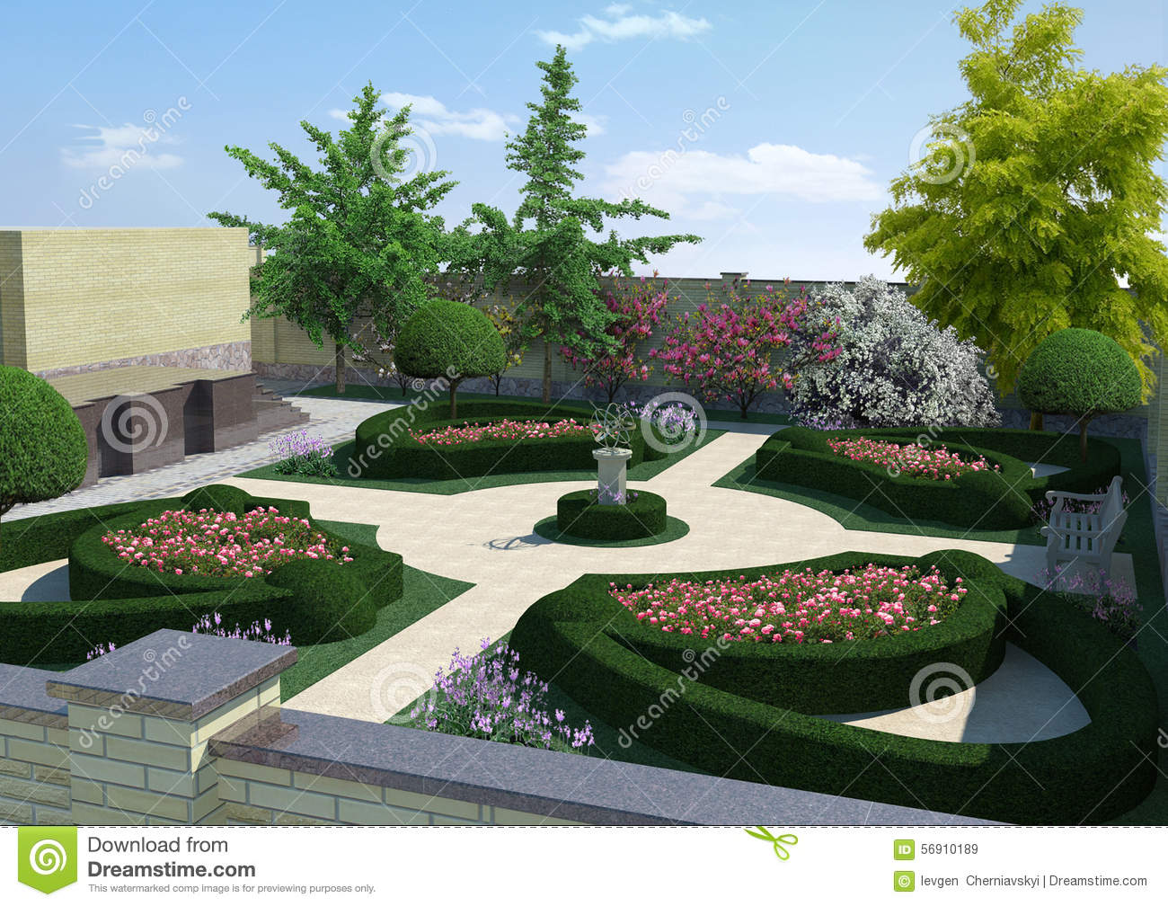 Courtyard landscaping classic style 3d rendering stock for Classic house landscape