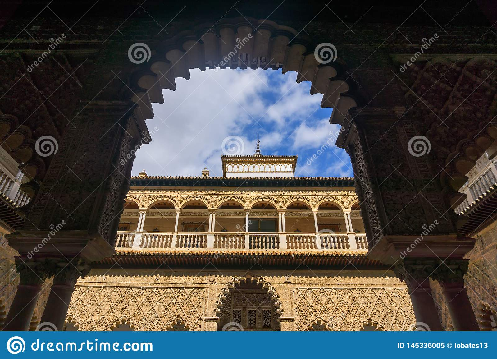 Courtyard of the Maidens in the Real Alcazar Palace in Seville, Spain