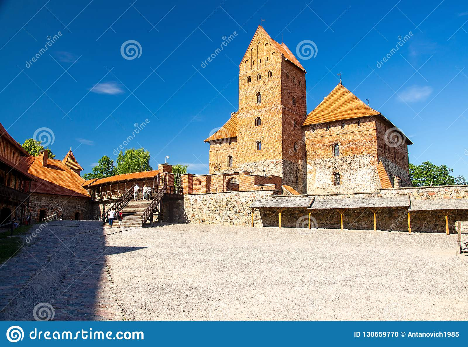 Courtyard of medieval gothic Trakai Island Castle, Lithuania