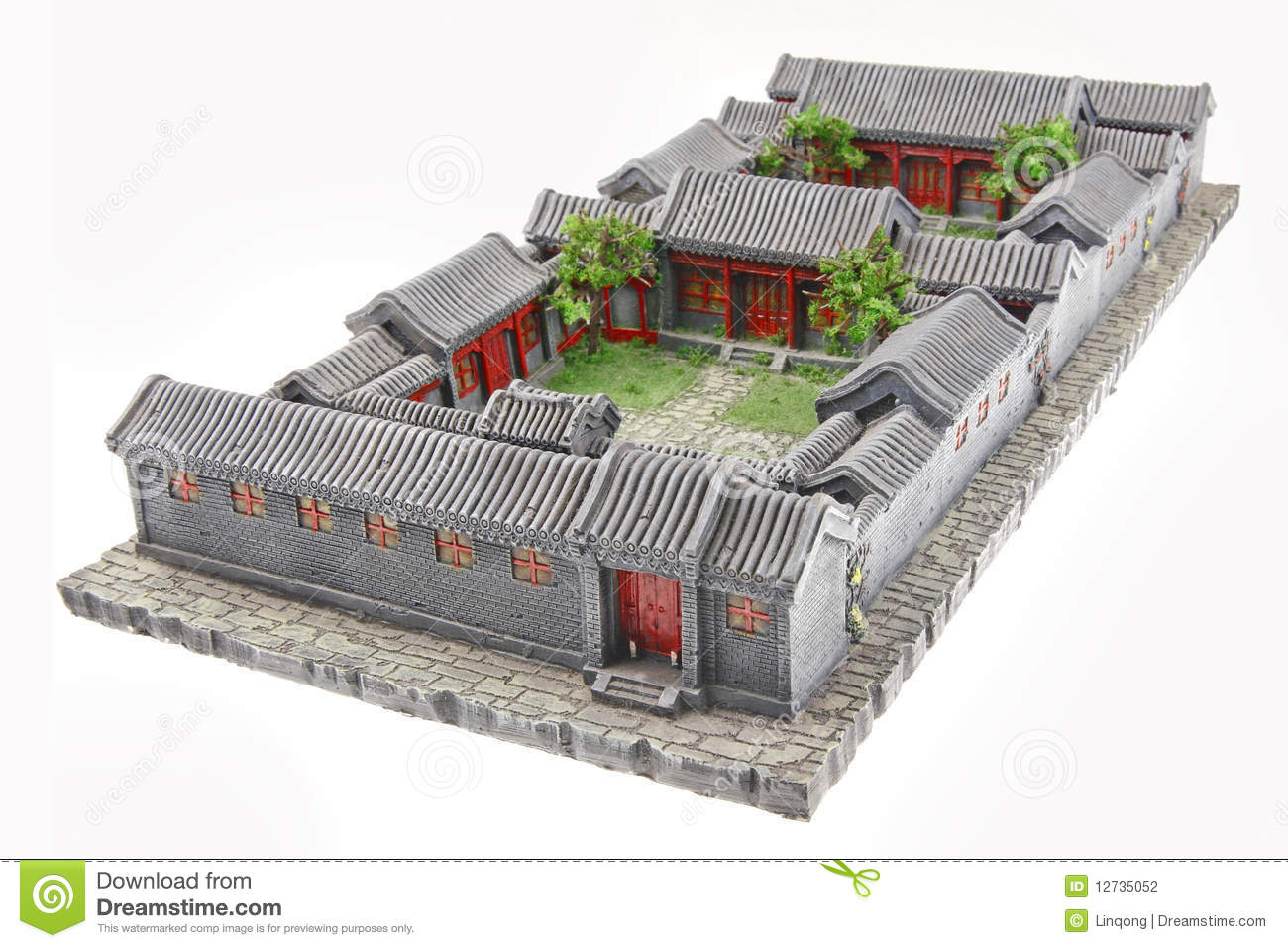 Courtyard model stock photo image of construction for Chinese house plans