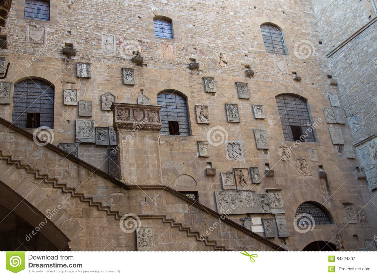 Museo Del Bargello.Courtyard In The Museo Nazionale Del Bargello Florence Italy