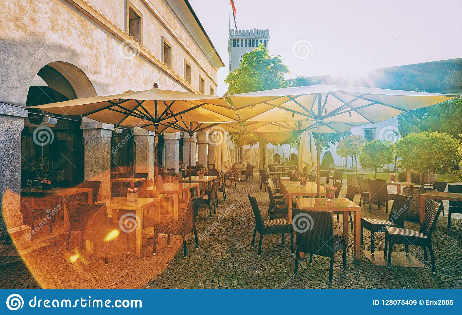 Courtyard at Old castle in historical center Ljubljana Slovenia