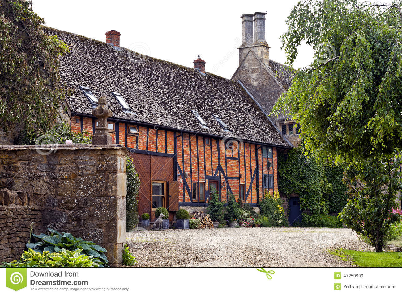 Courtyard In Old English Manor And Barn Stock Photo