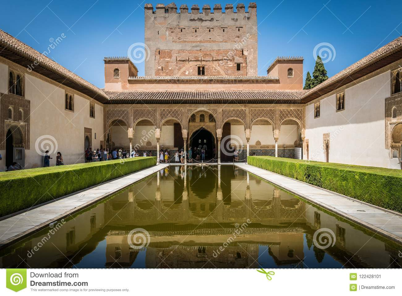 Alhambra Palace courtyard pool in Granada, Andalusia, Spain.