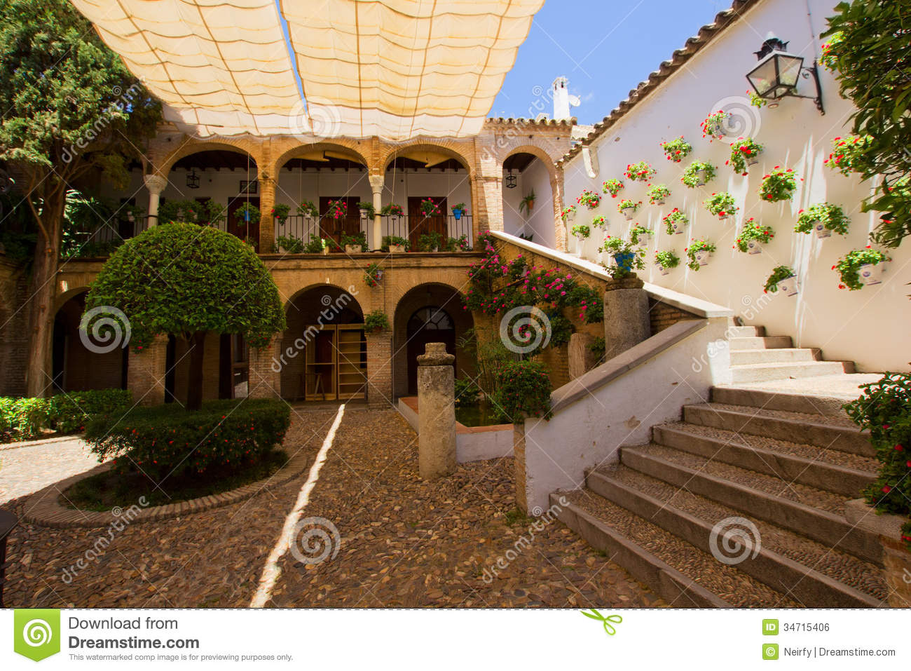 Courtyard Of A Typical House In Cordoba Stock Photo