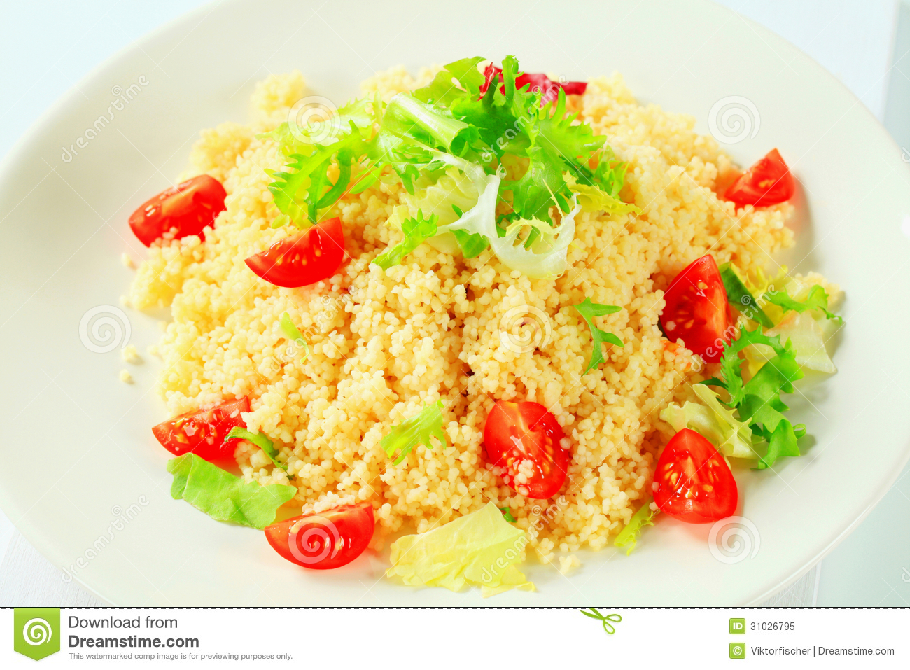 Couscous With Salad Greens And Tomatoes Royalty Free Stock ...