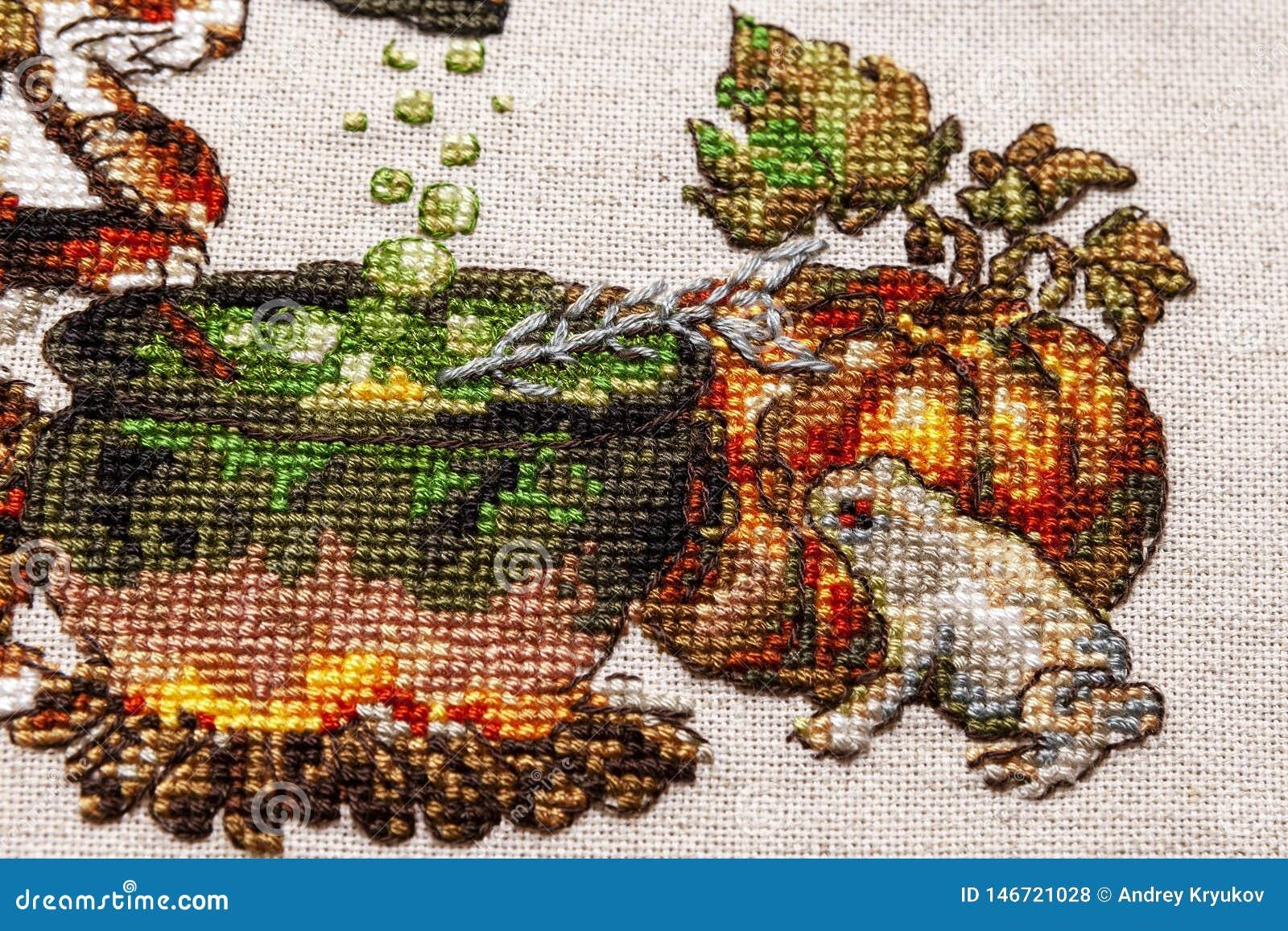 L Art Du Point De Croix cousez au point de croix la broderie avec le chat en chapeau