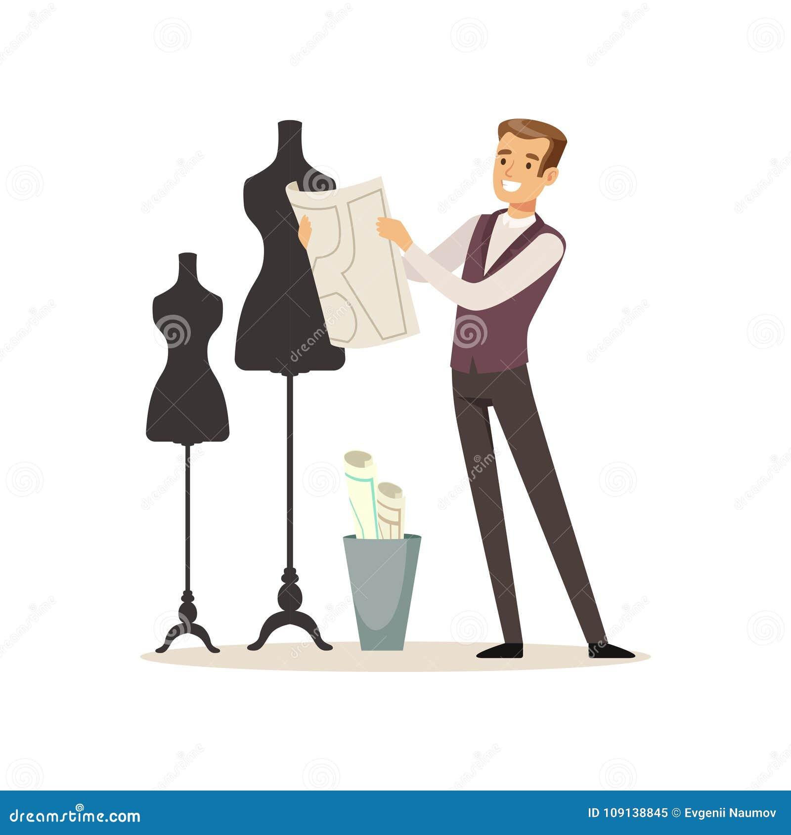 Couturier masculin se tenant près du simulacre, couture de tailleur fonctionnant à l illustration de vecteur d atelier