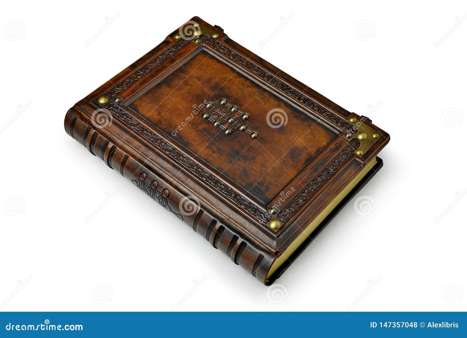 Couverture De Livre En Cuir De Brown Avec L Arbre De La Vie