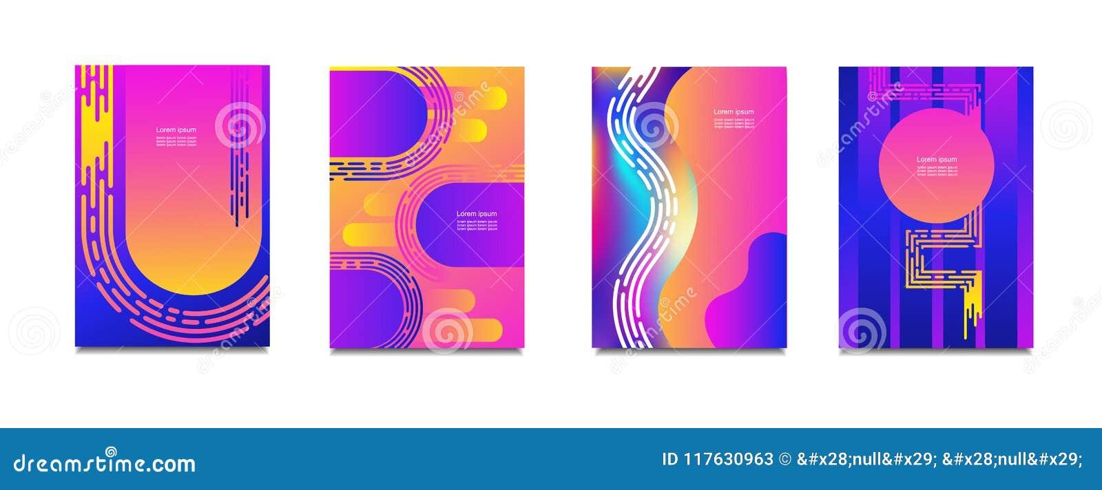 Couvertures géométriques réglées Le gradient rond forme la composition Couleur au néon moderne fraîche Formes liquides abstraites