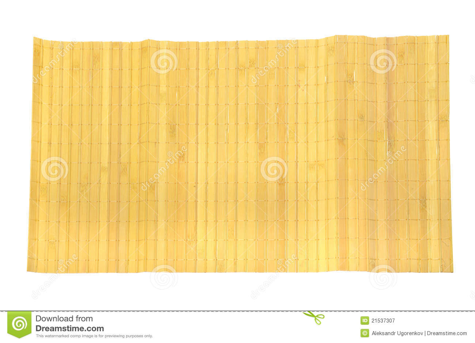 couvre tapis en bambou jaune sur le blanc image stock. Black Bedroom Furniture Sets. Home Design Ideas