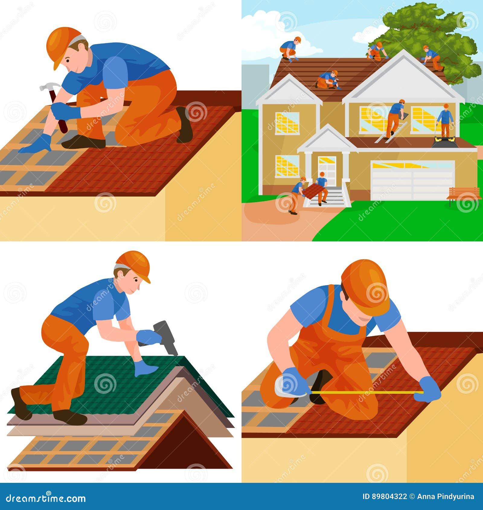 Couvrez la maison de réparation de travailleur de la construction, maison de tuile de dessus de toit de fixation de structure de