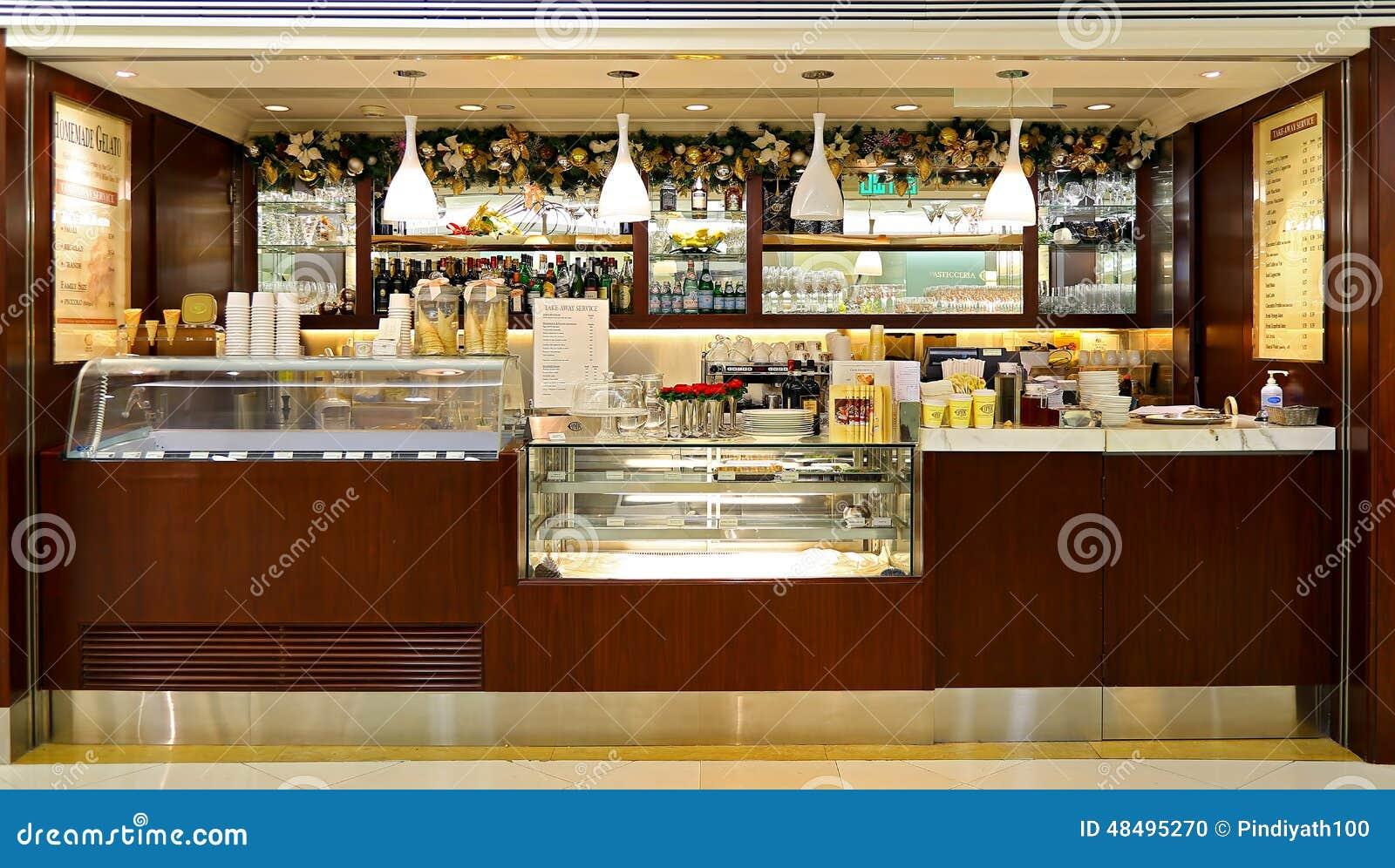 Cova Takeaway Coffee Bar Counter Editorial Image - Image: 48495270