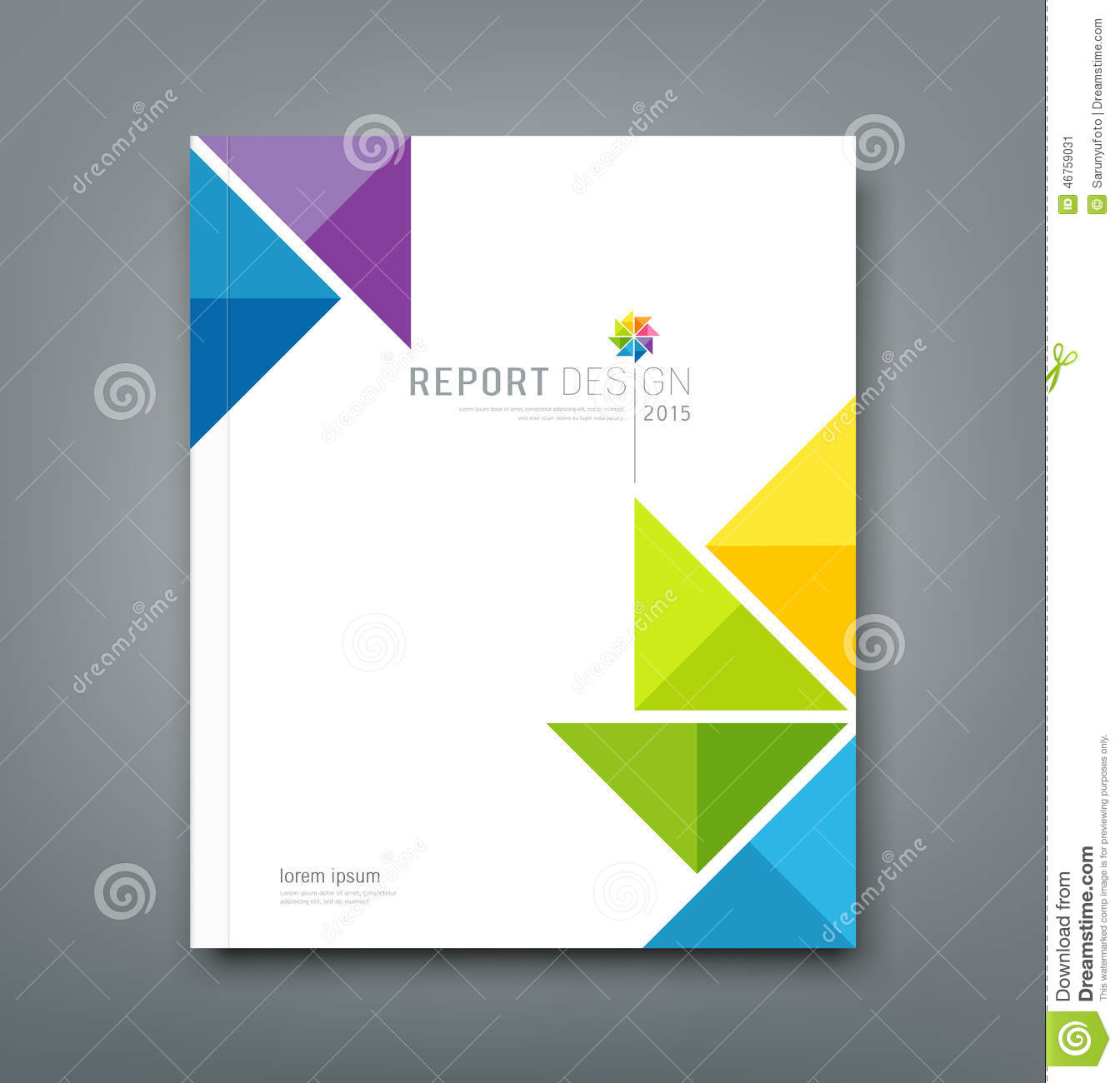 cover annual report colorful windmill origami paper stock vector