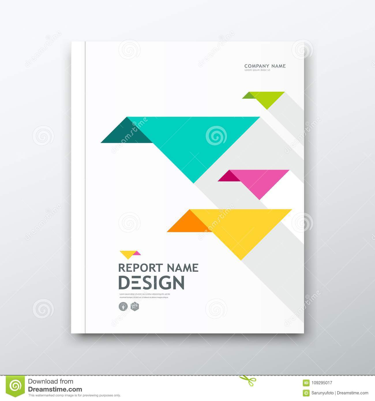 Book Cover Design Of Birds : Cover book annual report colorful bird origami paper on