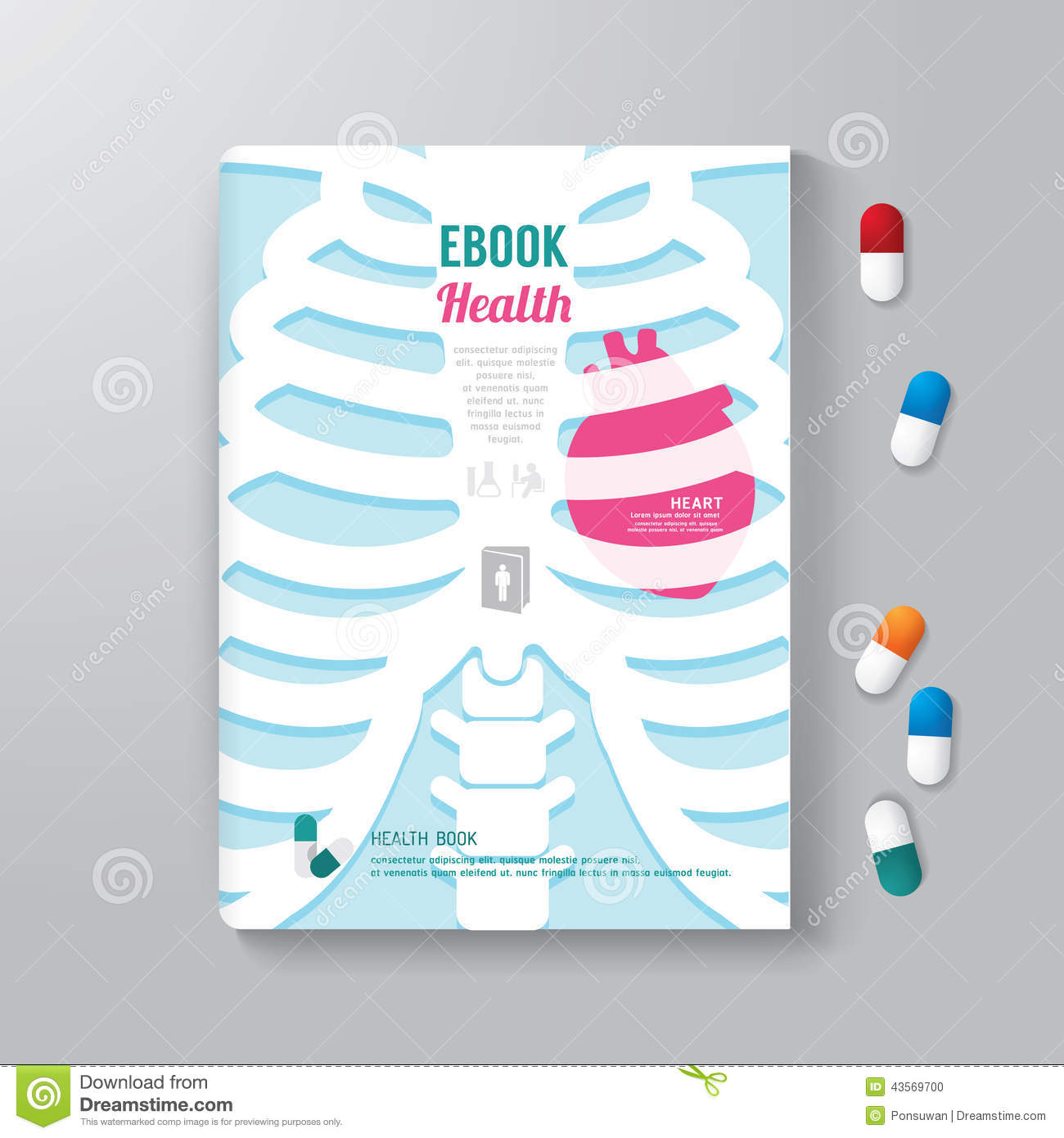 Book Cover Illustration Royalties : Cover book design minimal style template health concept