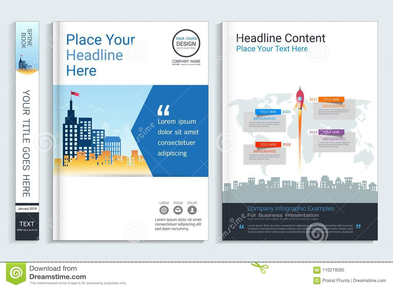 Cover Book Design Template With Presentation Infographics Elements