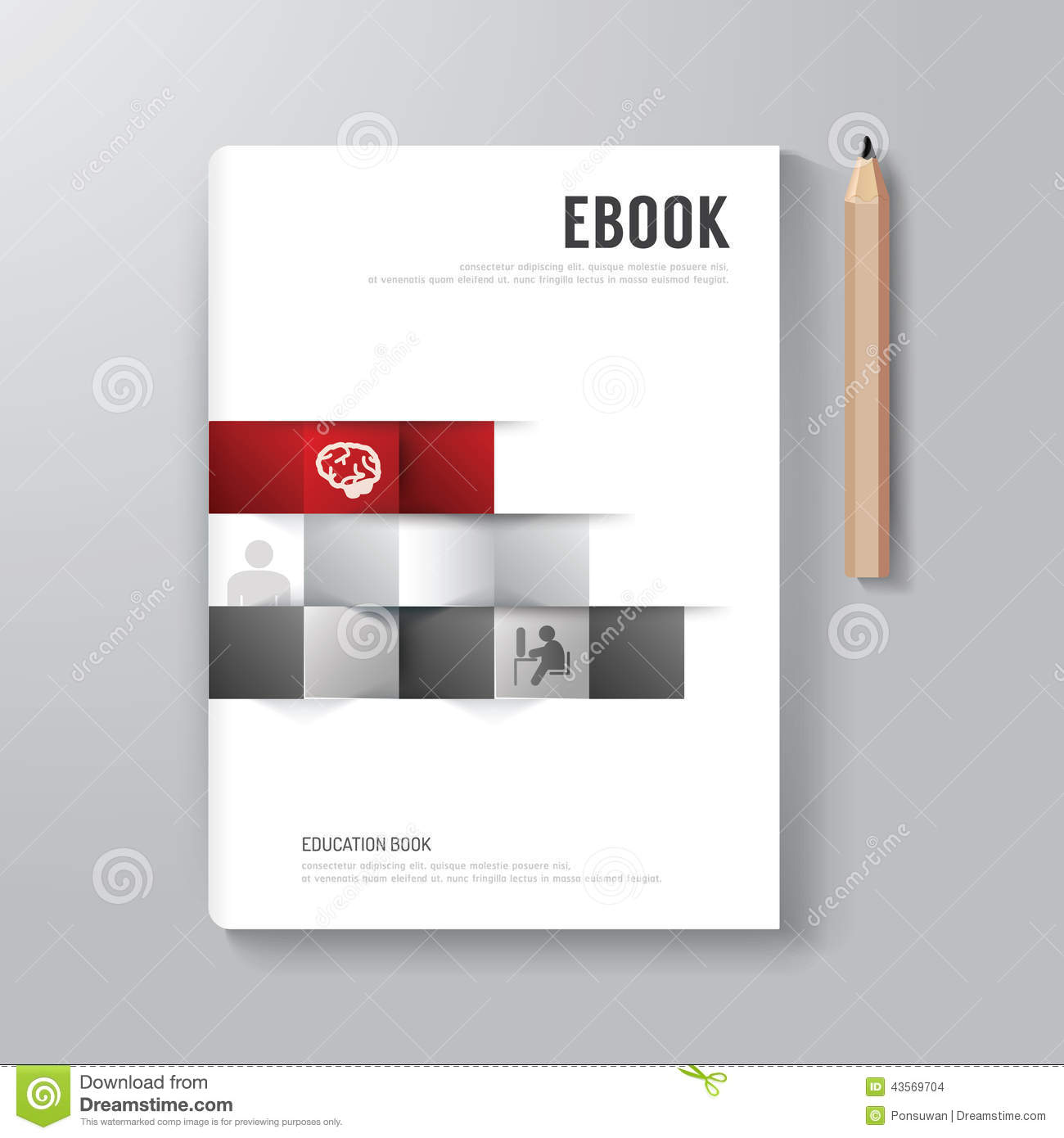 Book Cover Design Template Ks : Cover book digital design minimal style template stock