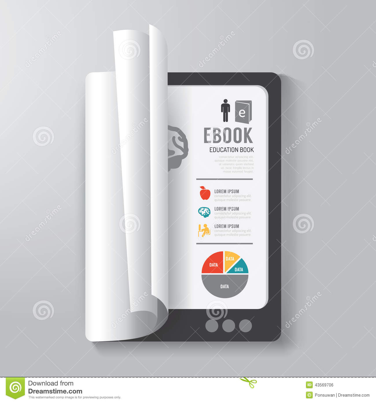 download cover book digital design tablet concept template stock vector illustration of book
