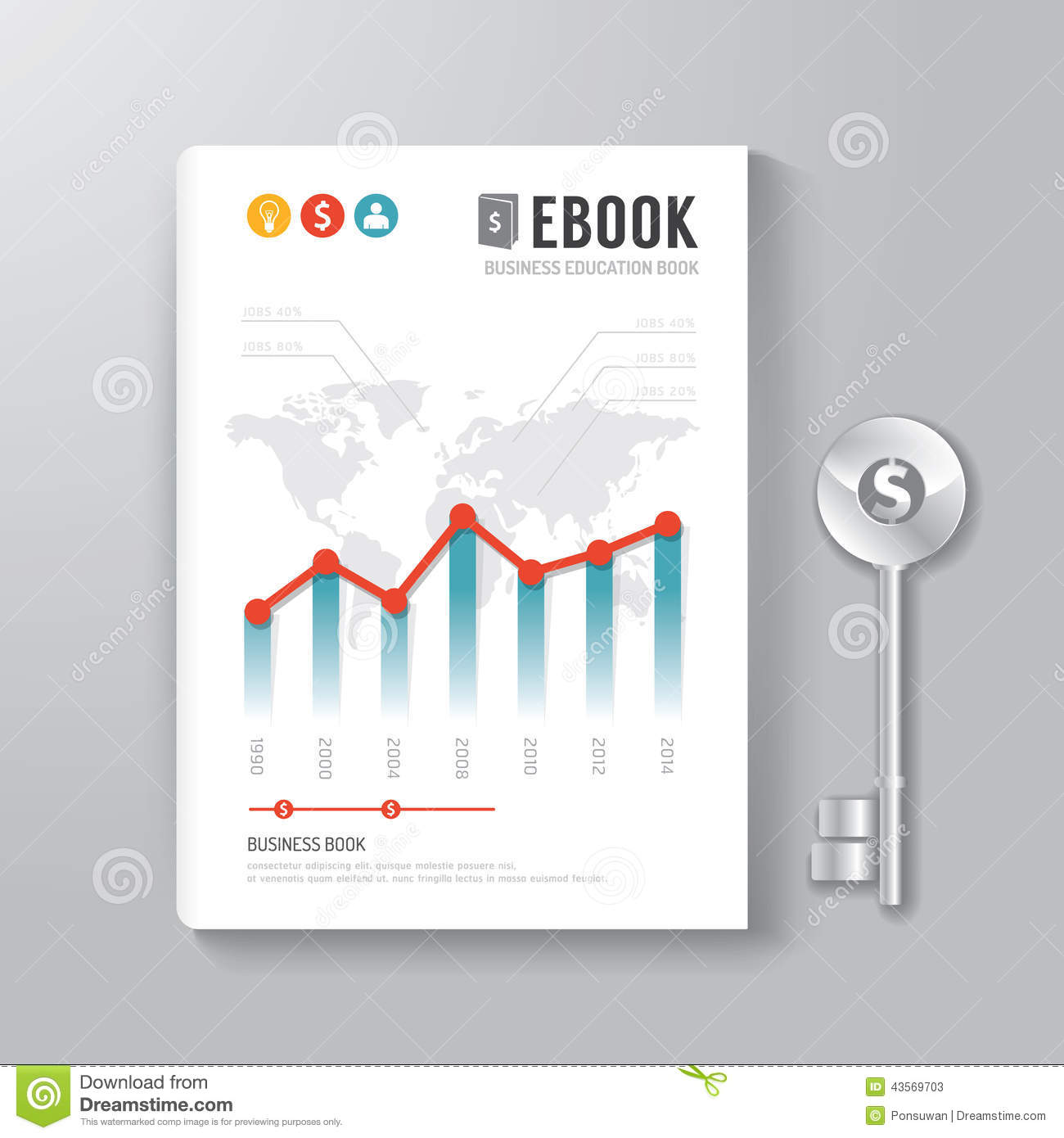 Book Cover Design Template Ks : Cover book digital design template key of business concept