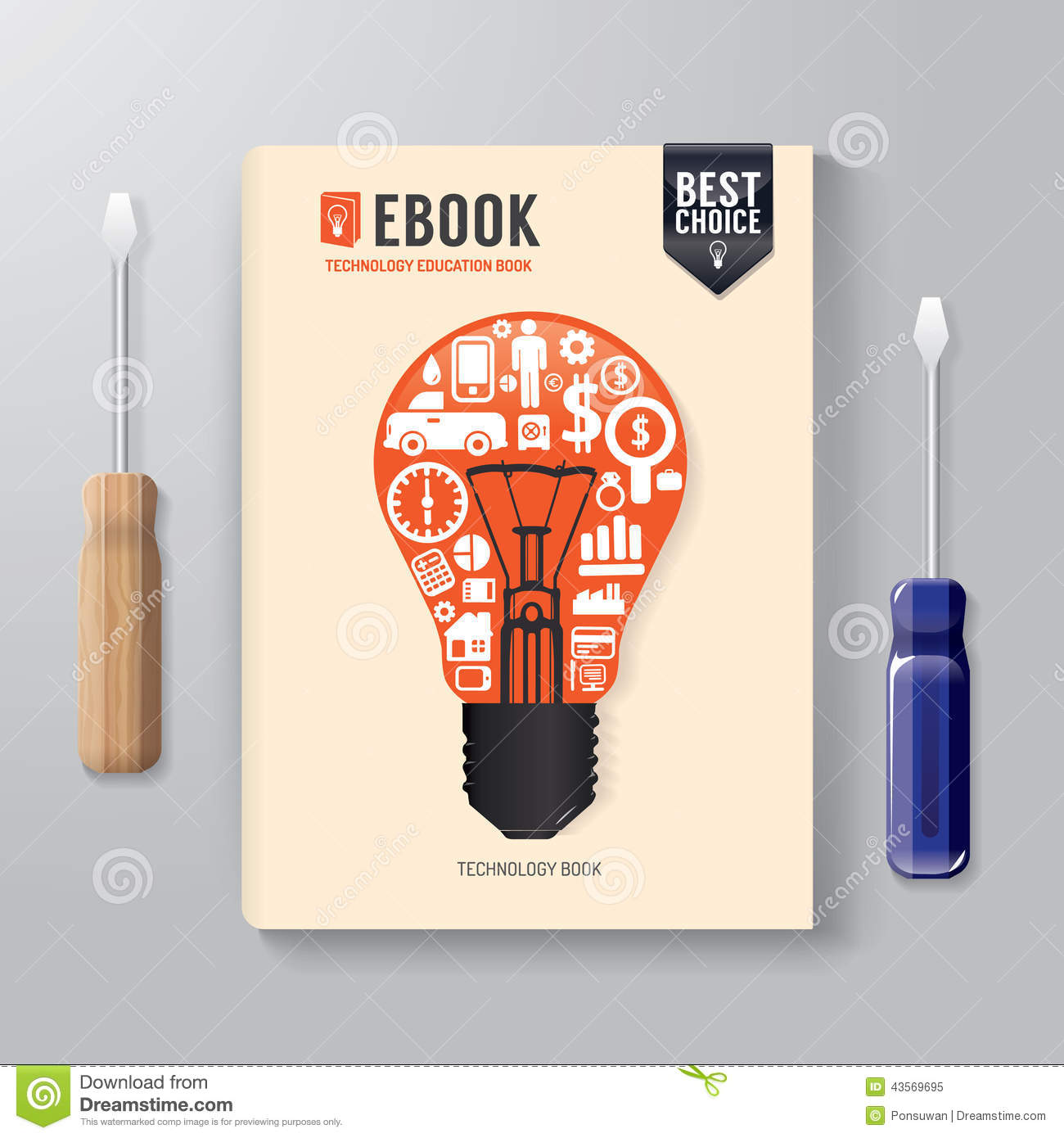 Book Cover Illustration Royalties : Cover book digital design template technology concept