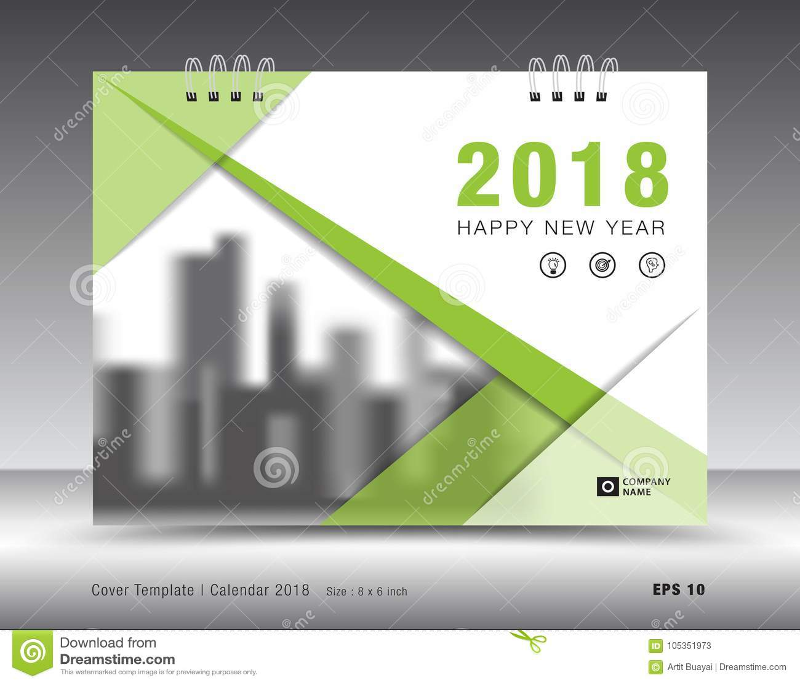 Cover Calendar 2018 Template Green Book Layout Business Brochure