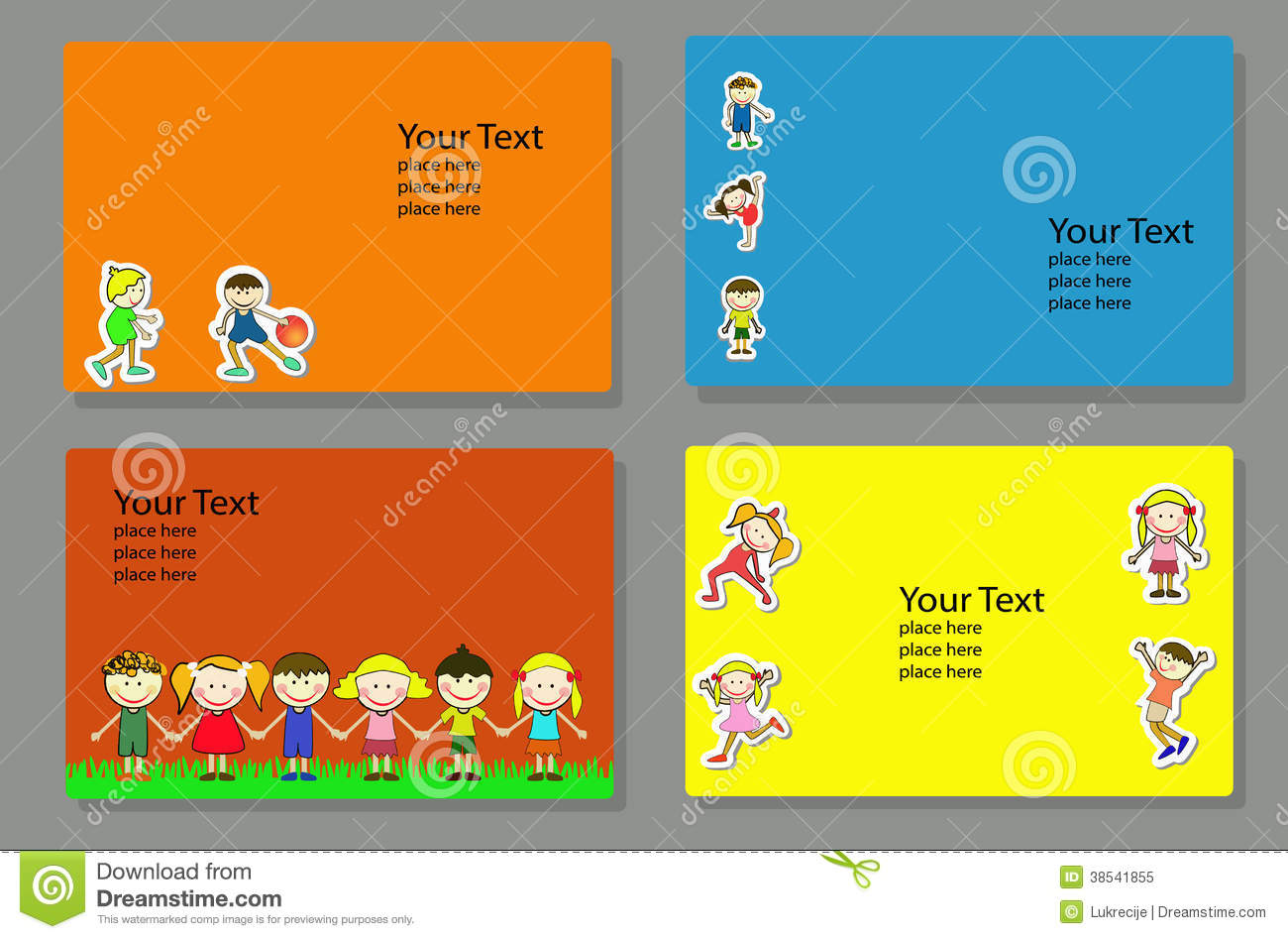 Illustrated Book Cover Vector : Cover design template with happy active kids stock vector