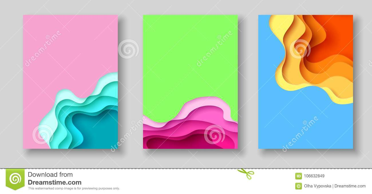 Cover or flyer template with abstract paper cut blue green pink yellow background. Vector template in carving art style