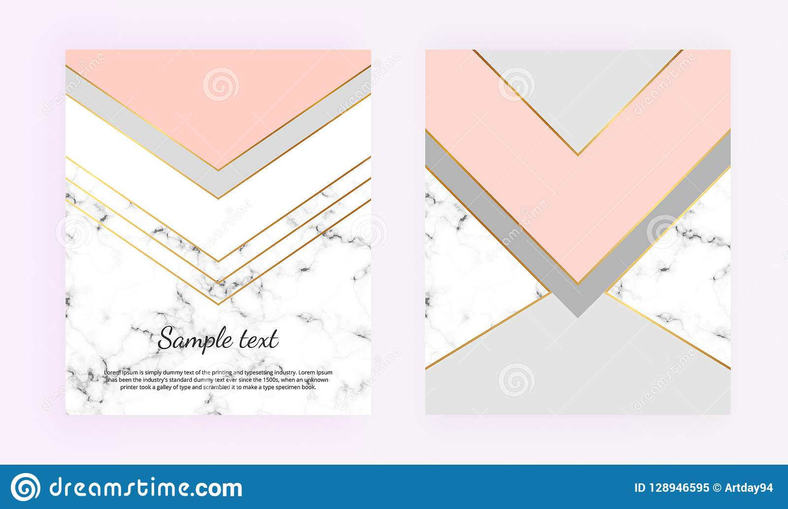 Cover Geometric Designs With Gold Grey Pastel Pink And