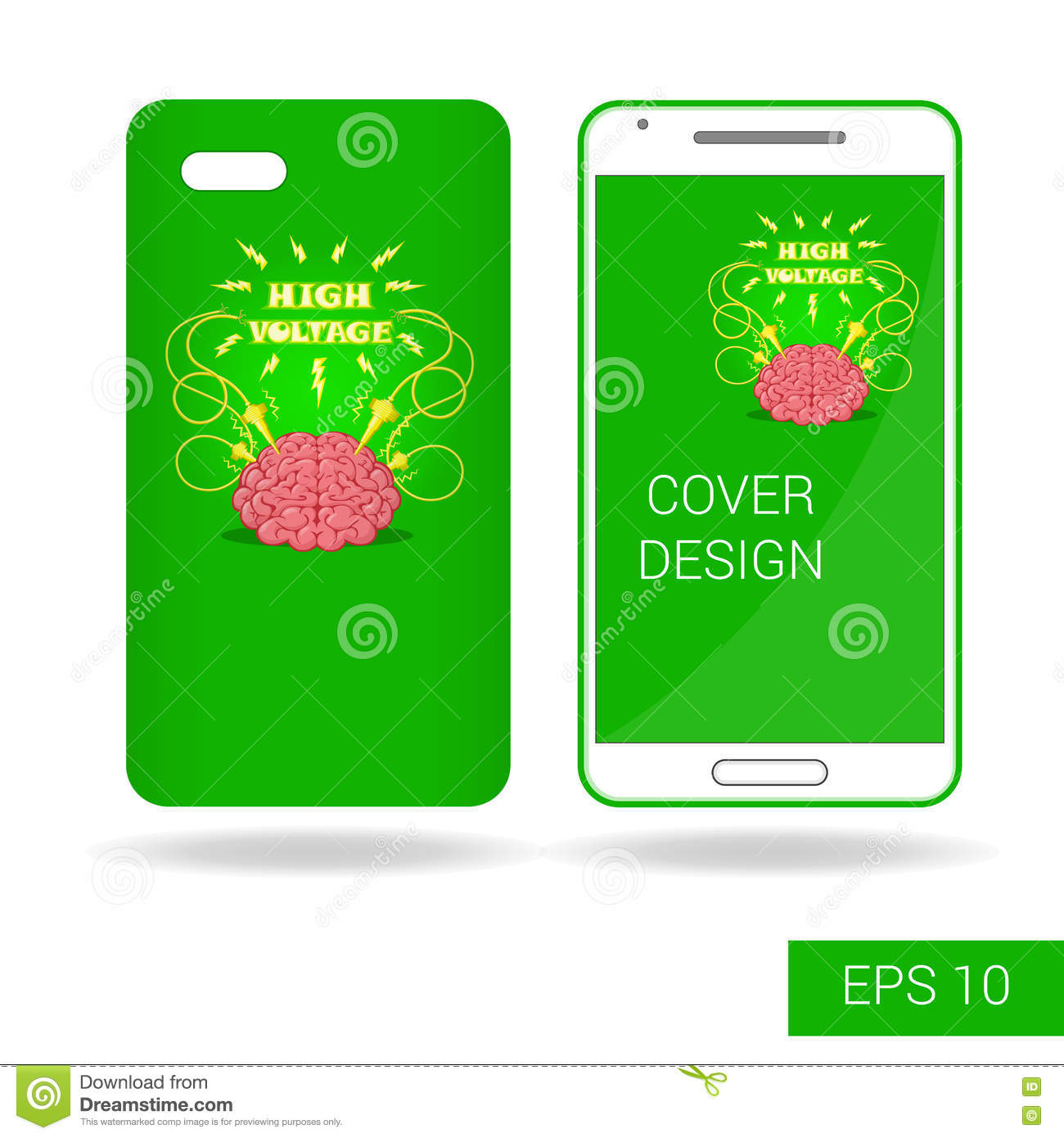 Cover mobile smartphone with funny human brain and electric download comp voltagebd Choice Image