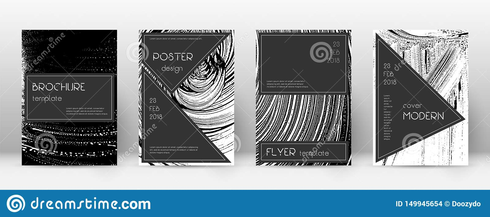 Cover page design template. Black brochure layout.