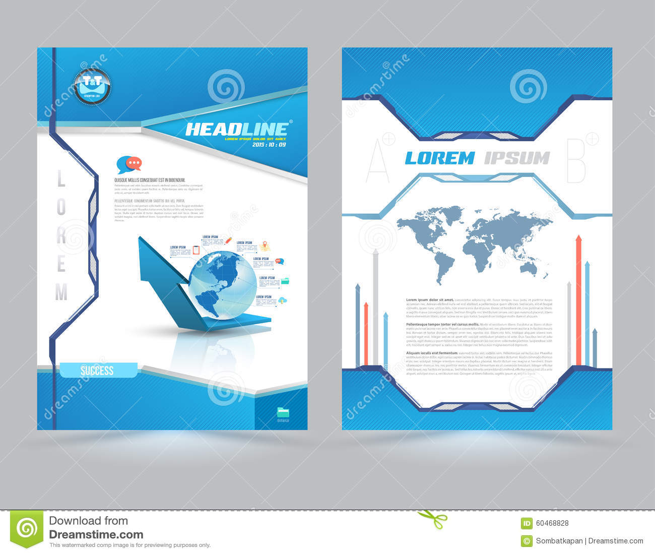 Book Cover Template Doc : Cover page layout template technology style stock