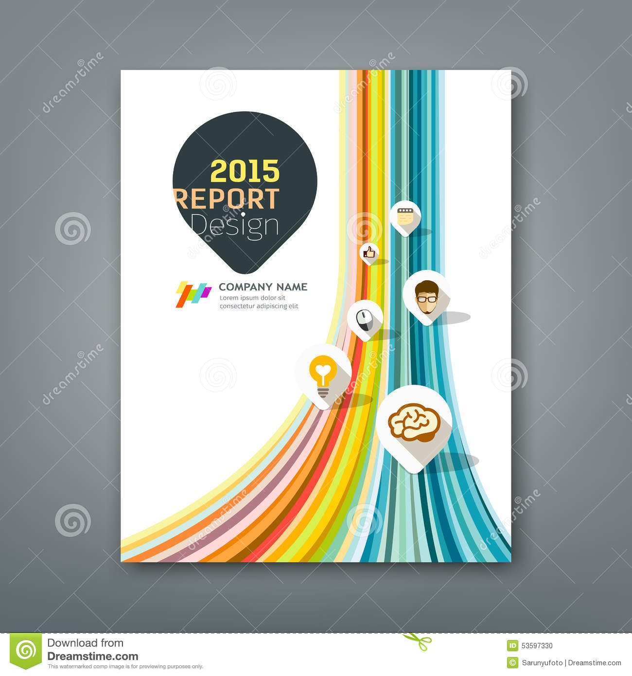 cover report colorful lines shapes infographic stock