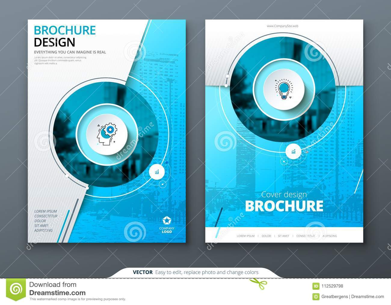 Cover set. Blue template for brochure, banner, plackard, poster, report, catalog, magazine, flyer etc. Modern circle