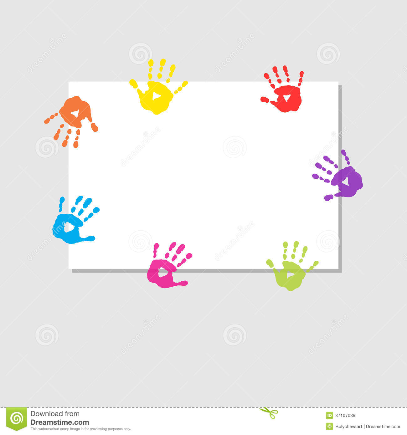 Cover Sheet With Prints Of Childrens Hands Stock Vector ...