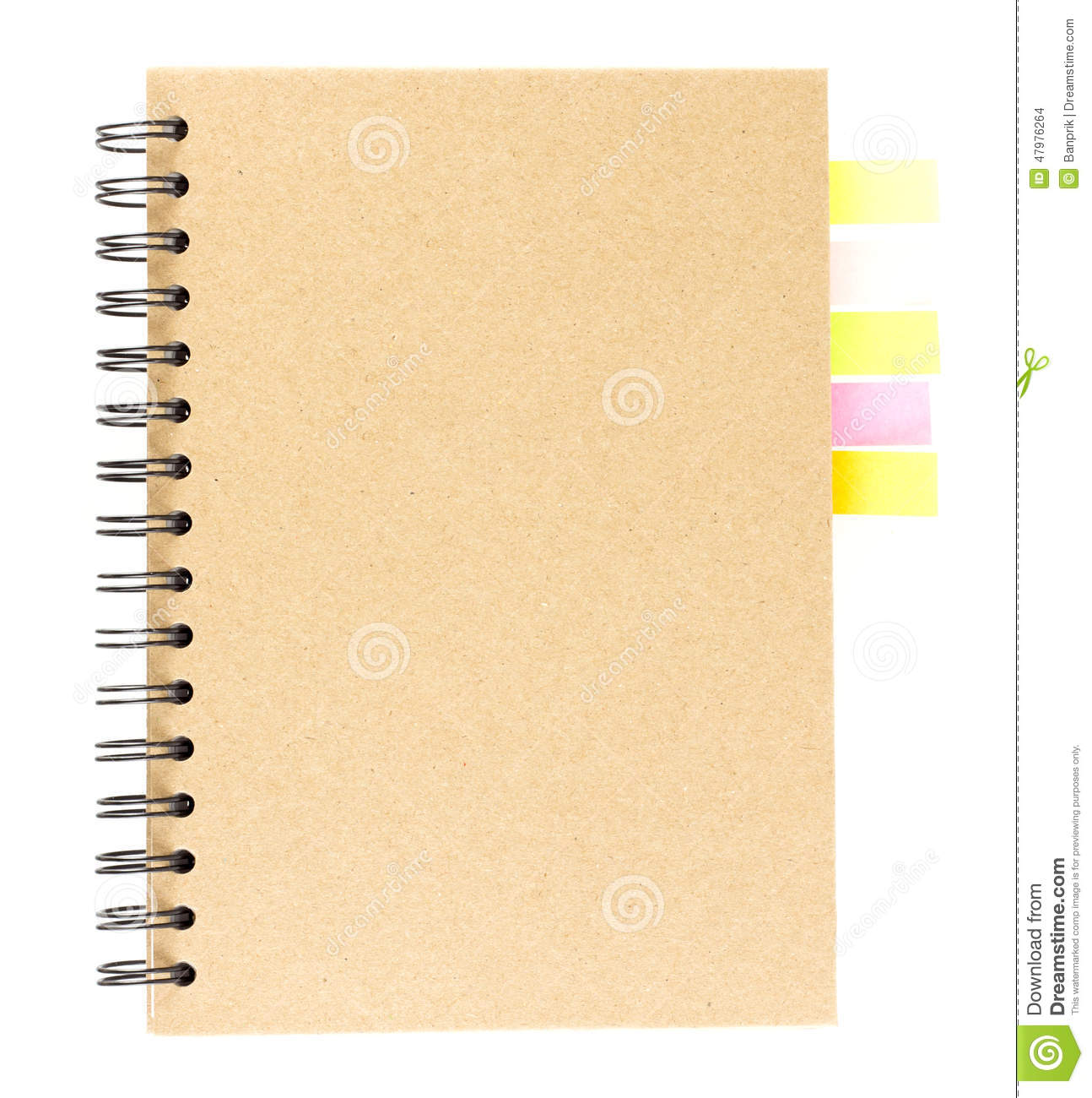 Book Cover Design Isolated Over Colorful Background : Cover of spiral notebook on white with colorful note paper