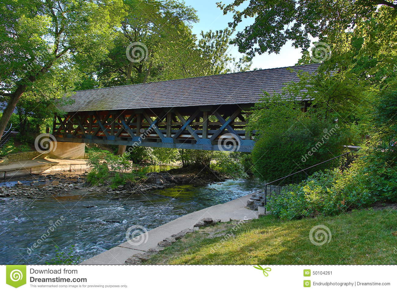 Covered Bridge over the DuPage River in Naperville, IL.