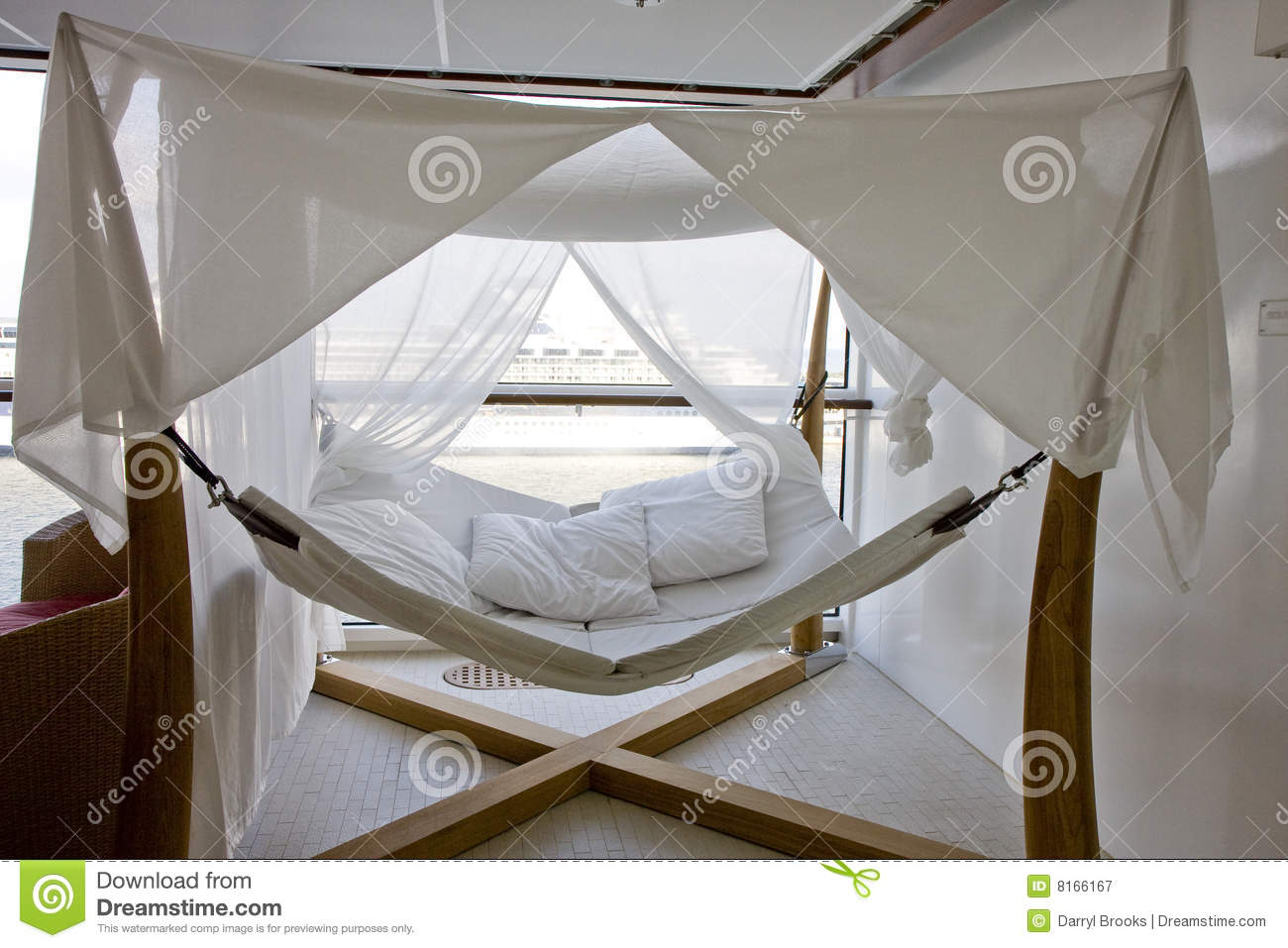 Nice A Large White Hammock With Gauzy Curtains By A Window On A Cruise Ship
