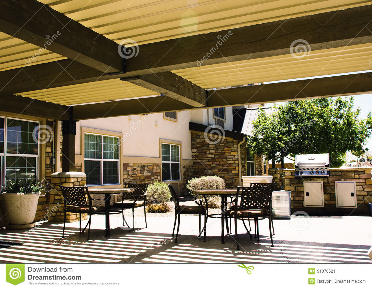 Covered Hotel Patio With Tables Stock Image Image Of Home Visitor