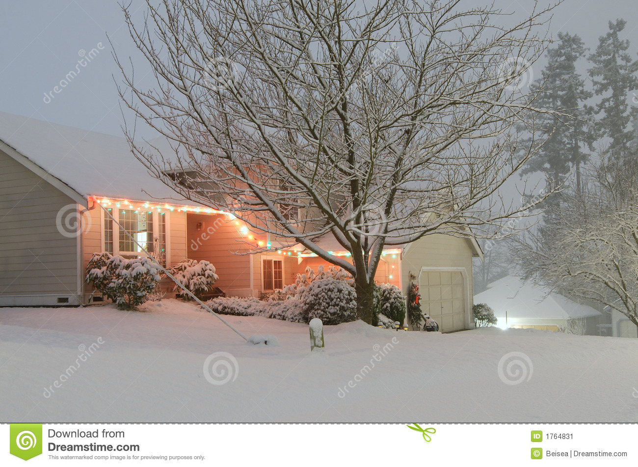 Covered house snow white
