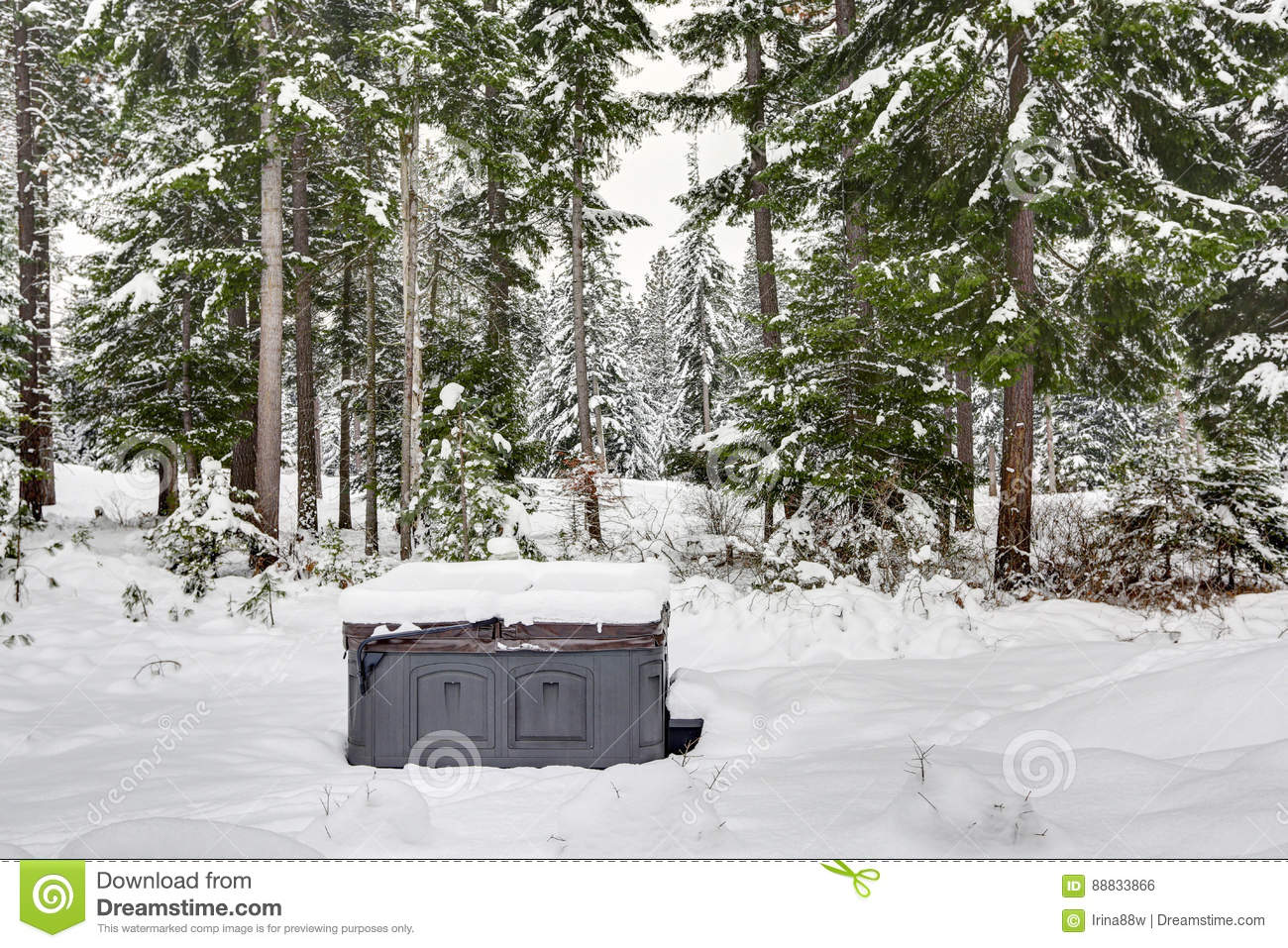 Download Covered Outdoor Hot Tub Surrounded By Snow Stock Photo - Image of deck, area: 88833866
