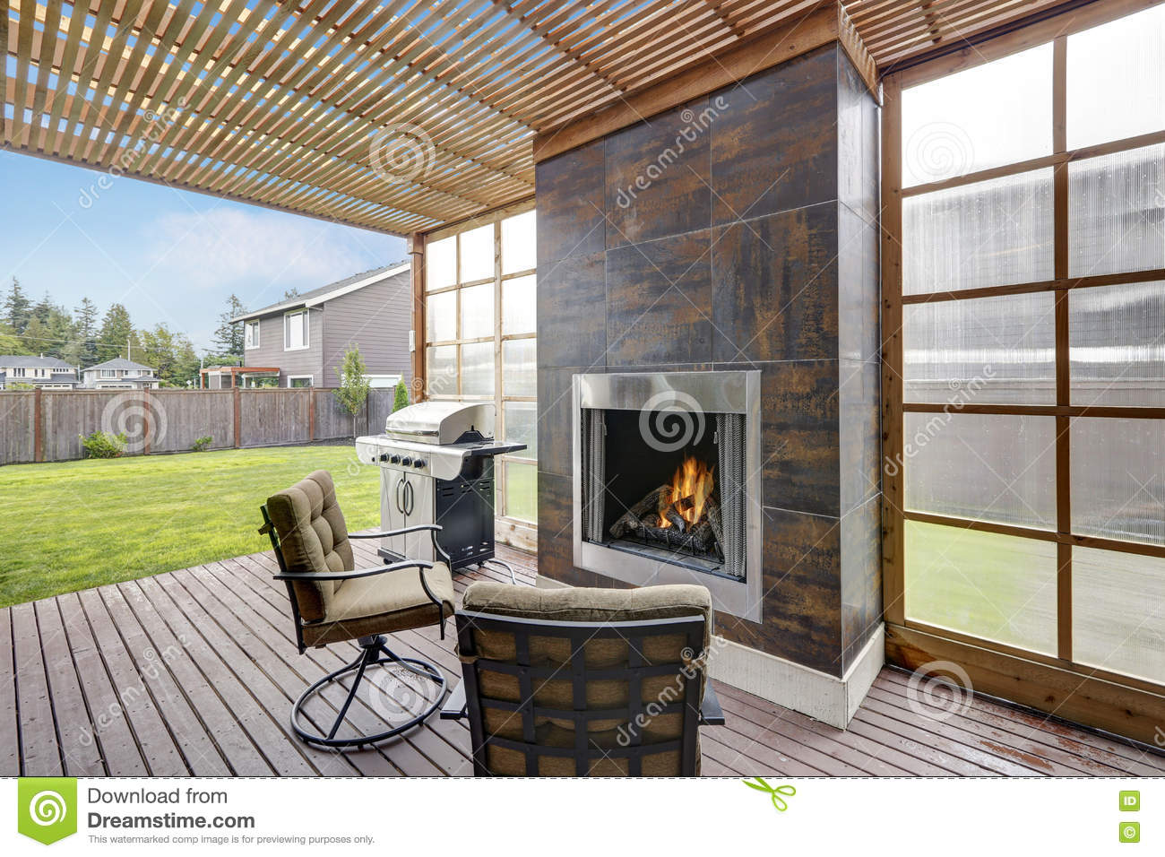 covered patio area in luxurious house stock photo image 79991310