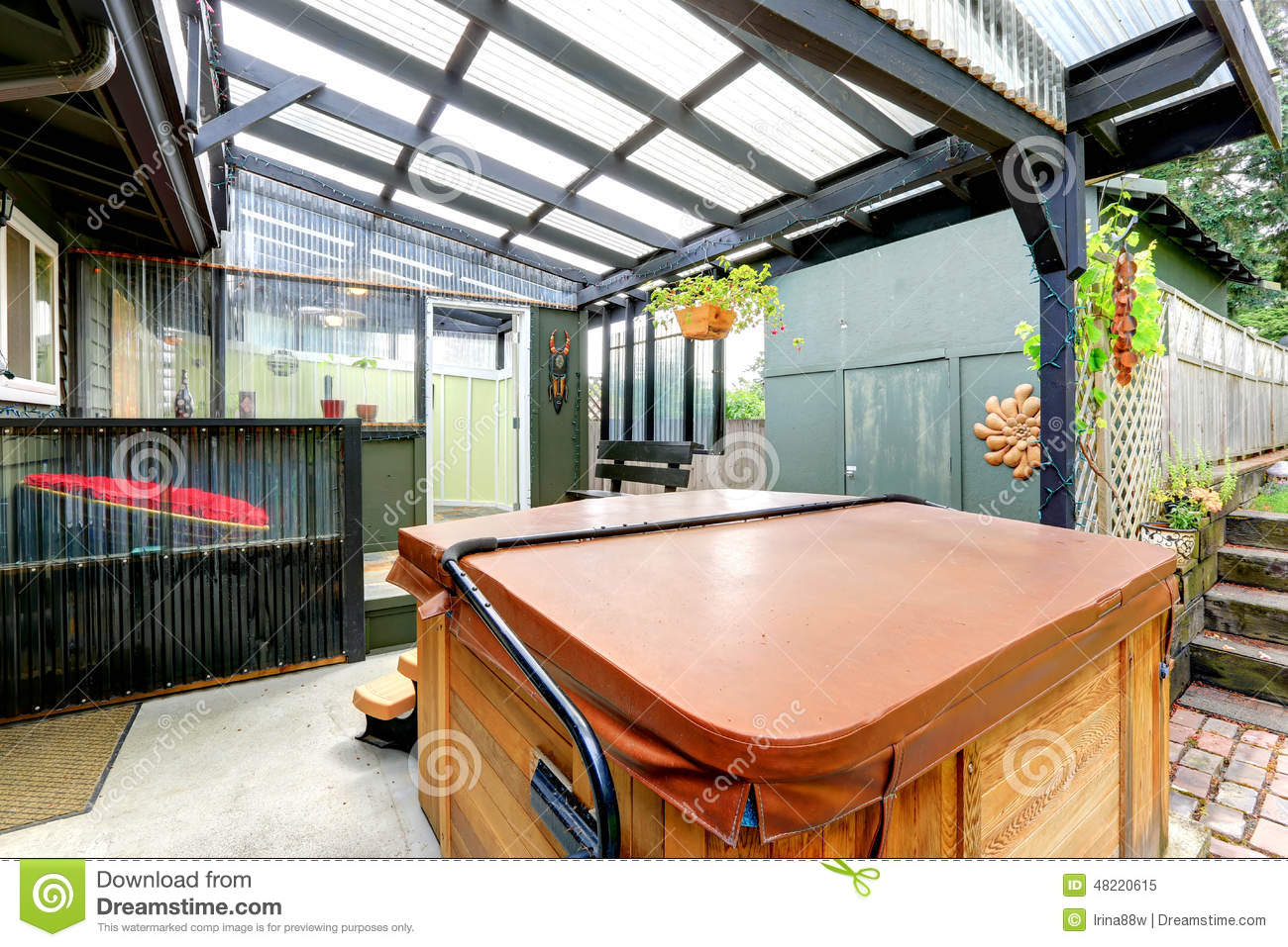Covered Pergola With Jacuzzi Stock Image Image Of Clean