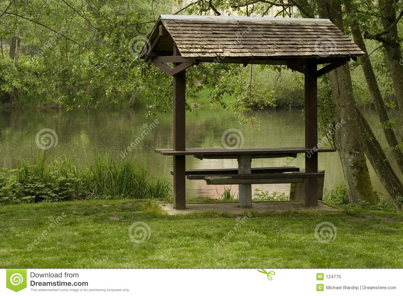 Covered Picnic Table Royalty Free Stock Photo - Image: 124775