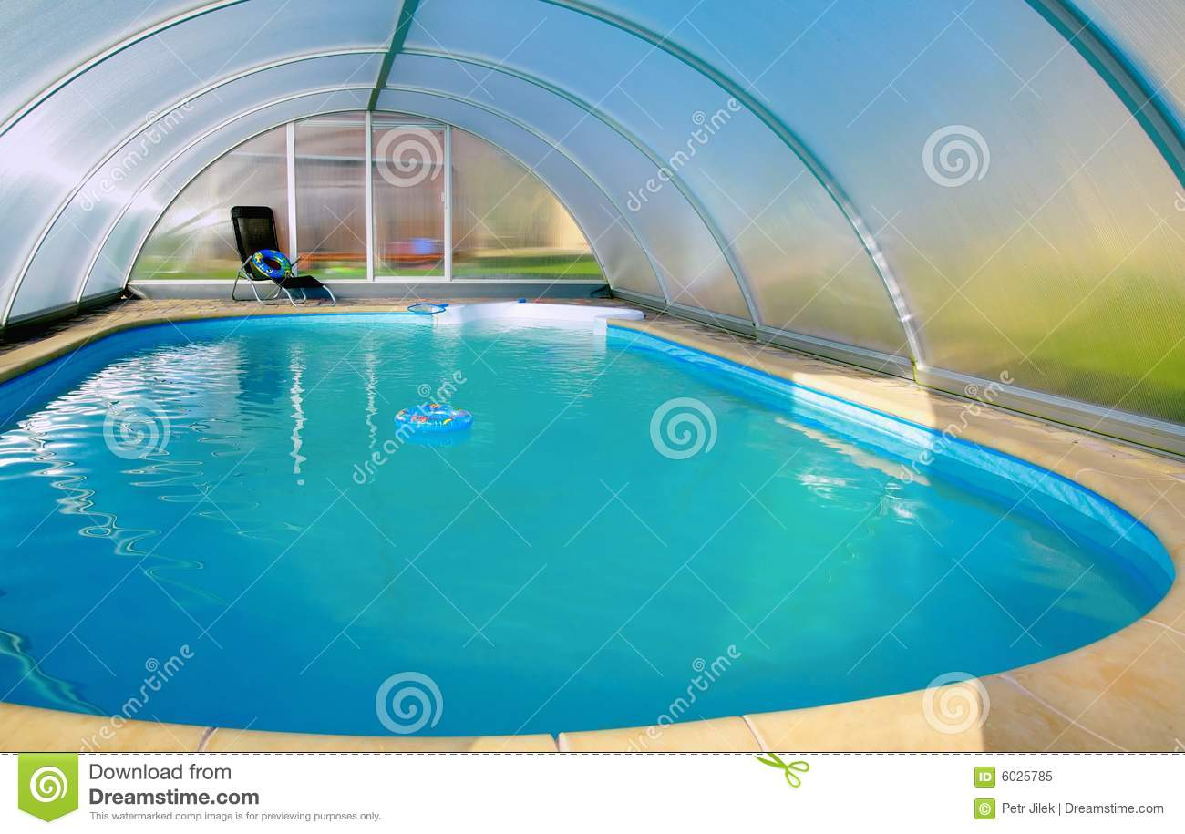Covered swimming pool stock image. Image of indoor, stylish ...