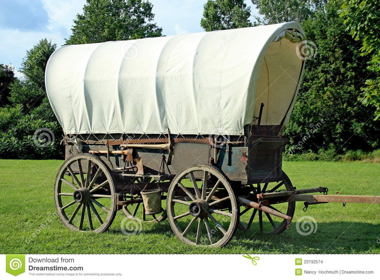 Covered Wagon With A Beautiful Landscape Background
