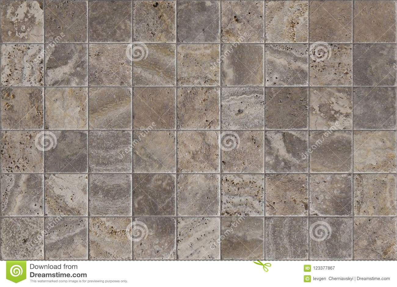 Travertine Tile Ceramic Mosaic Square Design Seamless Texture